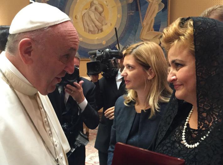 Ministrul Mediului, Gratiela Gavrilescu, in audienta la Papa Francisc