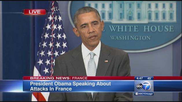 """Barack Obama: """"Este vorba de un atac impotriva intregii omeniri si a valorilor universale"""" (VIDEO)"""