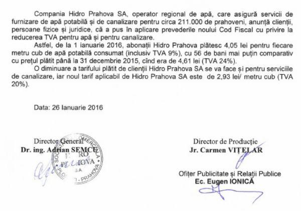 micsorare tarife Hidro Prahova 2016