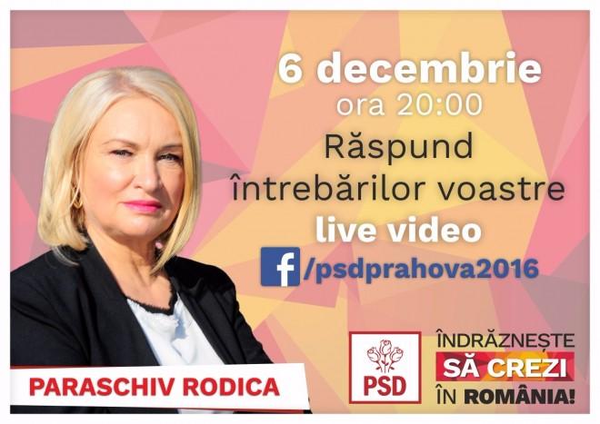 PSD Prahova: Rodica Paraschiv va raspunde, live, intrebarilor puse de cetateni pe facebook