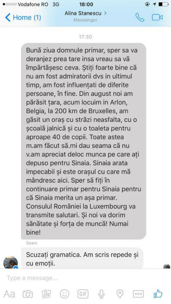 mesaj pentru primar Sinaia