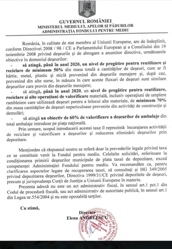 Ministerul Mediului - taxa fondul de mediu 2