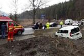 Accident intr-o curba pe DN1, la Azuga, din cauza vitezei (FOTO)